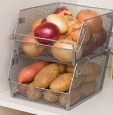 This versatile kitchen bin with a sturdy metal mesh construction instantly increases cabinet space for easy storage and organization.