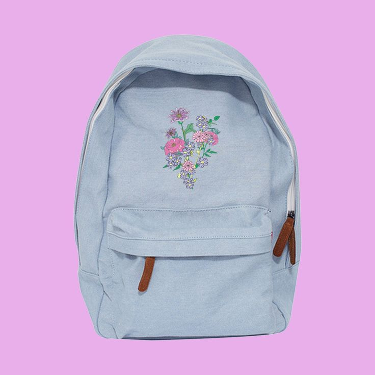 JUST TAKE THESE FLOWERS- soft grunge koko canvas backpack