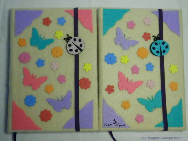 Handmade Journals for 2 sisters, Hardcover, felt cover, elastic band closure, picture 1