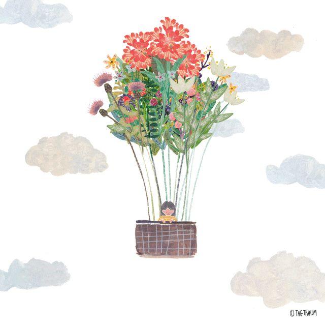 꽃기구 타고 하늘구경 (꽃새들이 어느새 저렇게 컸어요!)