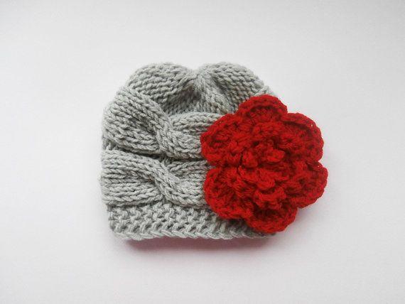 Newborn Baby Beanie Knit Baby Hat Girls Beanie Hat by KnittingLand, $18.50
