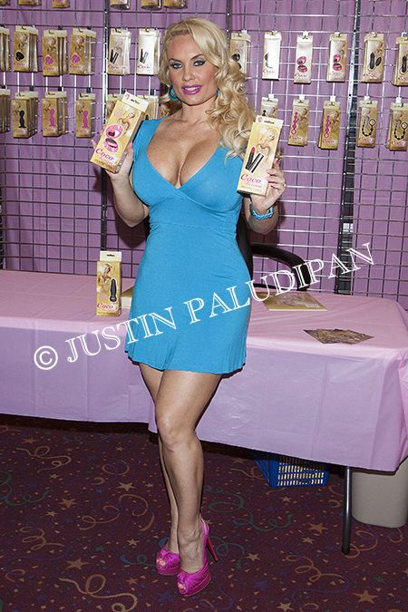 Coco Austin celebrates her new line of pleasure products 'Coco-Licious' by California Exotic Novelties with a meet and greet at Deja Vu's Adult Emporium on April 1, 2014 in Las Vegas, Nevada.