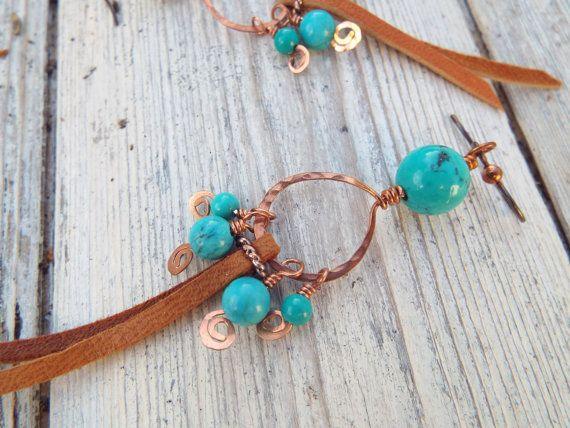 LONG BOHO LEATHER/copper and  genuine Hubei turquoise hand forged dangle earrings Hypoallergenic niobium wires for sensitive ears