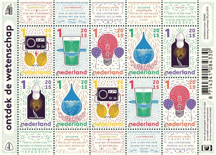 Op de postzegels van het velletje Ontdek de wetenschap staan illustraties van vijf natuurkundige experimenten die kinderen thuis kunnen uitvoeren. Op de vrolijk gekleurde tekeningen is te zien hoe citroenen elektriciteit kunnen opwekken, een glas water een potlood kan buigen, een ballon licht geeft, een andere ballon koel blijft boven het vuur en een ei door een nauwe flessenhals kruipt.    http://collectclub.postnl.nl/ontdek-de-wetenschap.html