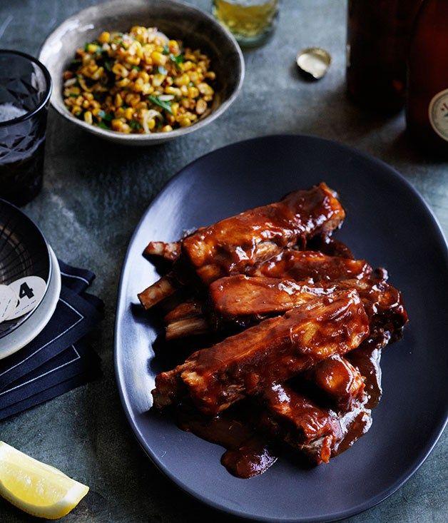 Glazed lamb ribs with corn salad recipe | Lamb recipe | Colin Fassnidge recipe - Gourmet Traveller