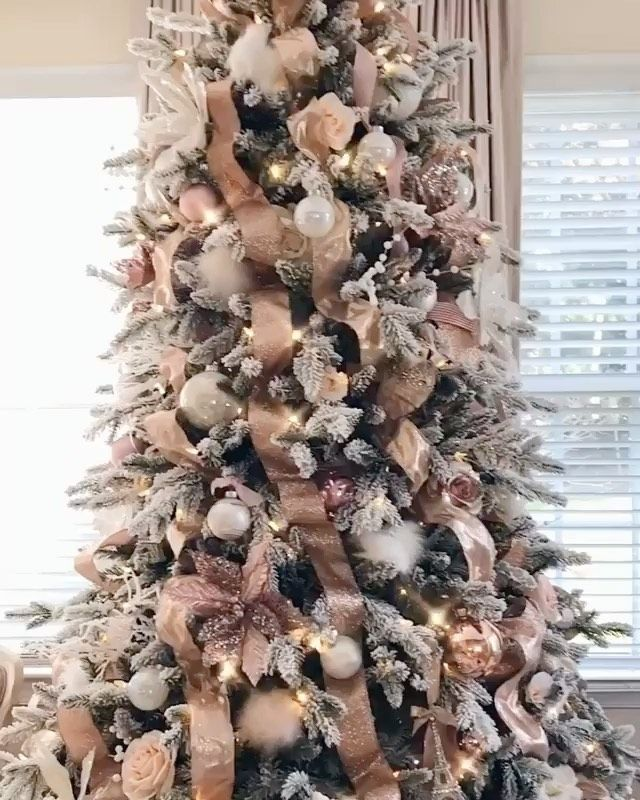 Sddecor Shared A Video On Instagram Tgif This Tree Is So Glamorous Xolex In 2020 White Christmas Trees Rose Gold Christmas Tree Ribbon On Christmas Tree