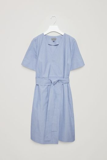 COS image 2 of Wrap-over cotton dress in Sky Blue