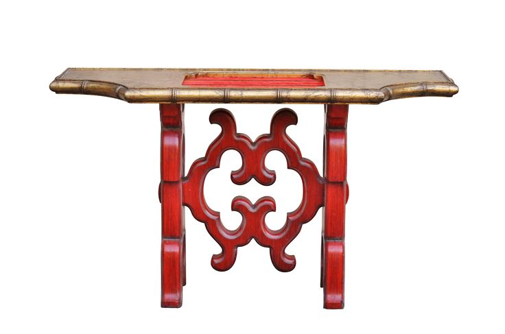 Chinoiserie Red Console Table on Chairish.com