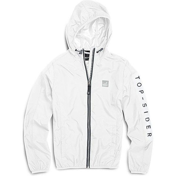 Sperry Top-Sider Sperry Windbreaker Jacket ($69) ❤ liked on Polyvore featuring activewear, activewear jackets, bright white, sperry and logo sportswear
