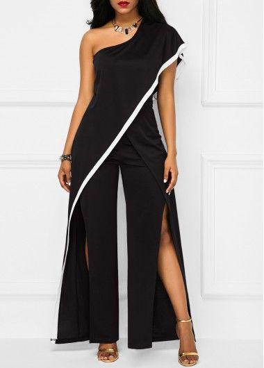 Black One Shoulder Double Slit Jumpsuit on sale only US$36.32 now, buy cheap Black One Shoulder Double Slit Jumpsuit at liligal.com