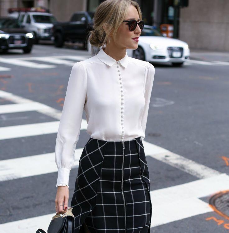 Windowpane skirt w/ a white Victorian blouse