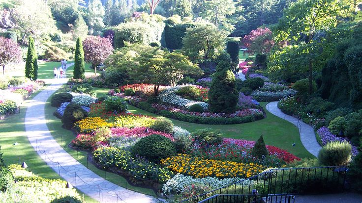 panorama-Butchart-Gardens-is-a-garden-flower-tourism,-colombia