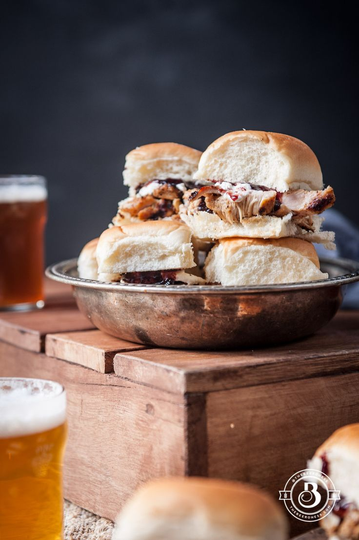 Grilled Beer Chicken Sliders with Burrata and Stout Chipotle Cherry Sauce