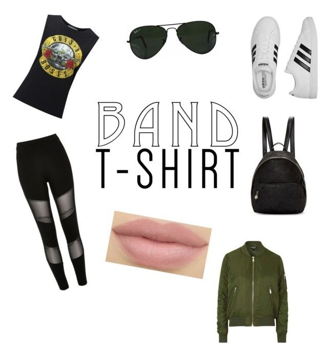 """band t-shir"" by aasti3638 on Polyvore featuring River Island, Miss Selfridge, Topshop, adidas, STELLA McCARTNEY and Ray-Ban"