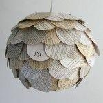 Lámpara con papel periódico