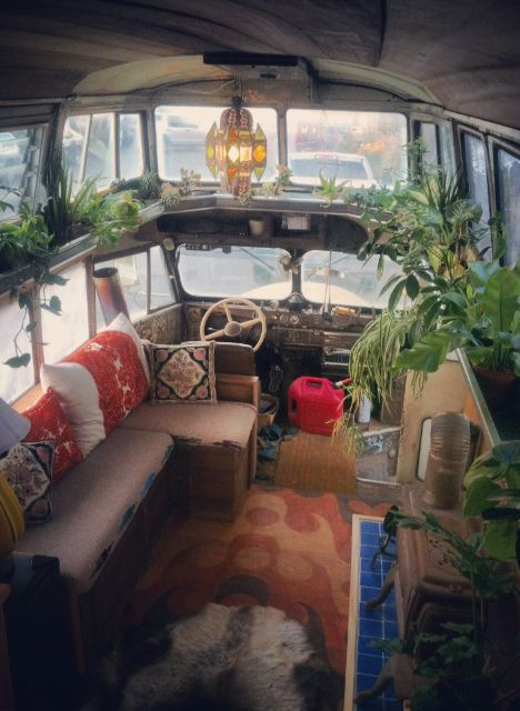 Interior, from bedroom-pod. Is this an rv or converted mini bus? Maybe a hightop van? I don't know, but I like the plants in the van idea.
