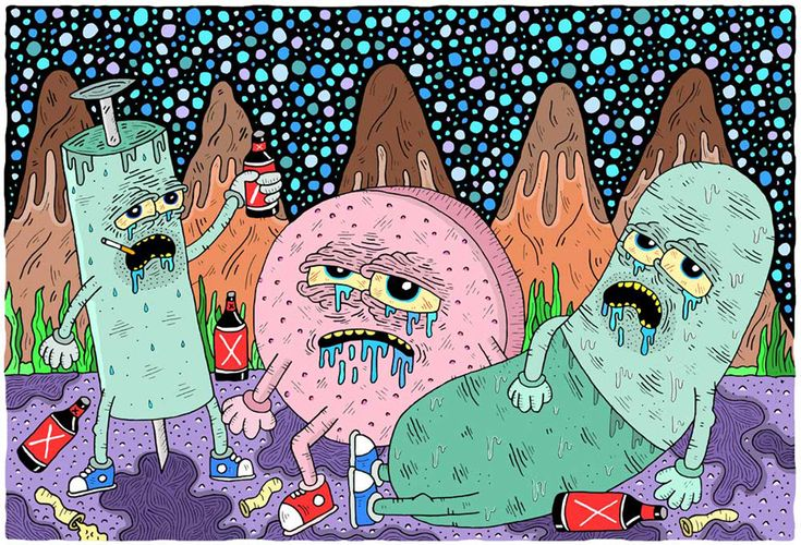 Working mainly for Vice magazine nowadays, Sam Taylor is a really particular illustrator with a great taste for the grotesque, scatology, monstruous, gore and black humor.