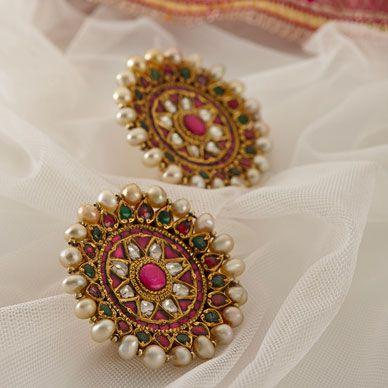 kundan earrings - saffron art jewel auction