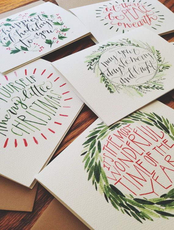 Christmas Cards HandLettered and Painted Set of 10 by joliemade...love