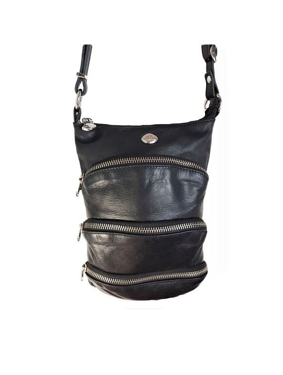 Stunning unique Vintage The TREND Italy Genuine buttery soft Black Leather with silver metal zippered sections Organizer Crossbody retro bag