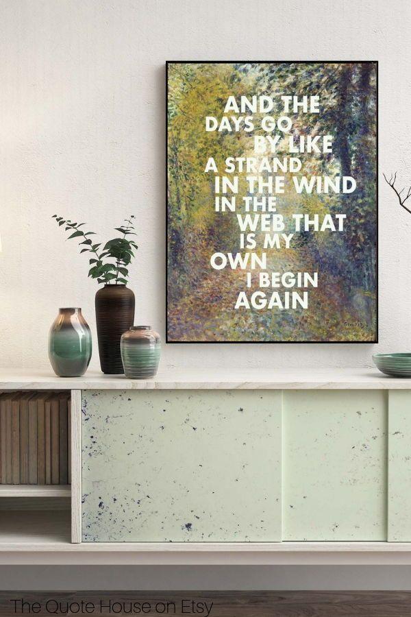 Stevie Nicks Edge of Seventeen Lyrics Unframed Print