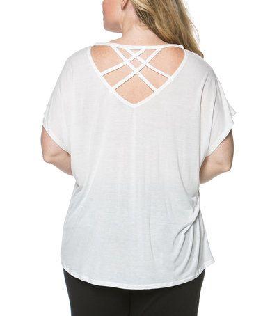 Look at this #zulilyfind! White Cross-Back Top - Plus #zulilyfinds