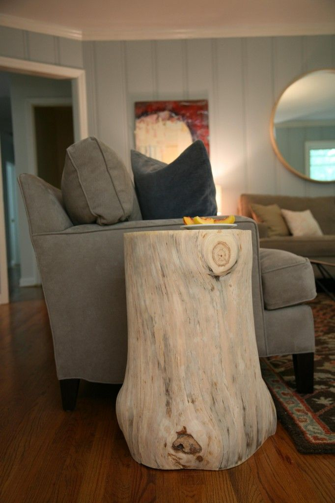 We have a tree down in the yard that hit the cabin just before we bought it.  I decided last night it needed to come inside in the form of end tables, so this morning I Googled.  BAM.  Can't wait to do this.