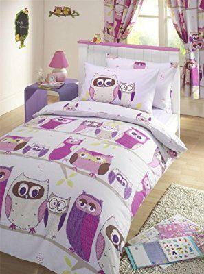 Parue de lit 1 personne/enfant motif Chouette - 1 housse de couette + 1 taie d'oreiller