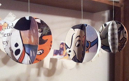 Handmade vintage paper Christmas baubles -decorations made by ellabetsyboo, three for £5 on Etsy #disney #christmas