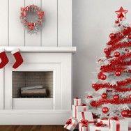 Yılbaşı beyaz çam ağacı ile güzel