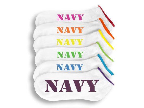 NAVY Socks 6 Pairs of Custom NAVY Socks by ApparelHut on Etsy