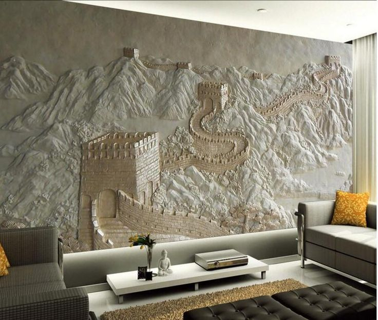 3D Relief Great Wall of China Design Wallpaper Mural for Home or Business