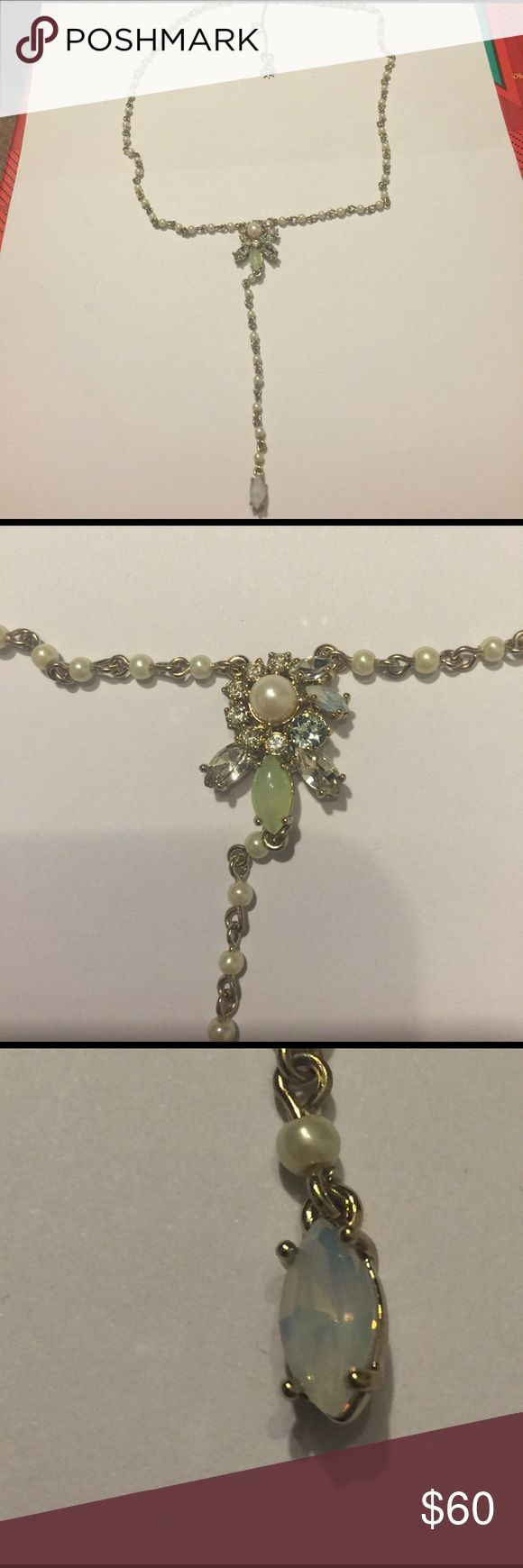 Marchesa pearl flower necklace Marchesa gold plated necklace with faux pearls and crystal flower accent.  Y shaped.  Nwot Marchesa Jewelry Necklaces