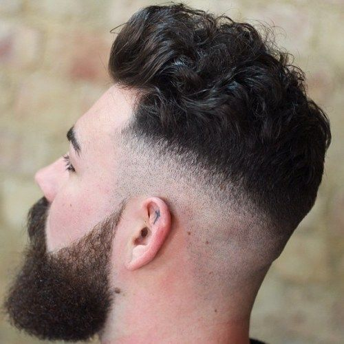 Skin Fade Pompadour for Curly Hair