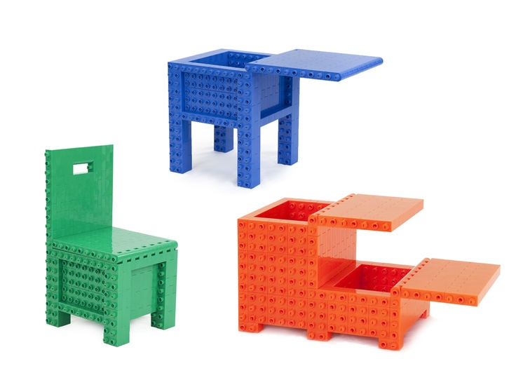 Jekca Homebuilder Lite -- like life-size legos so kids can build furniture--  The trunk would be great for storing regular Legos!