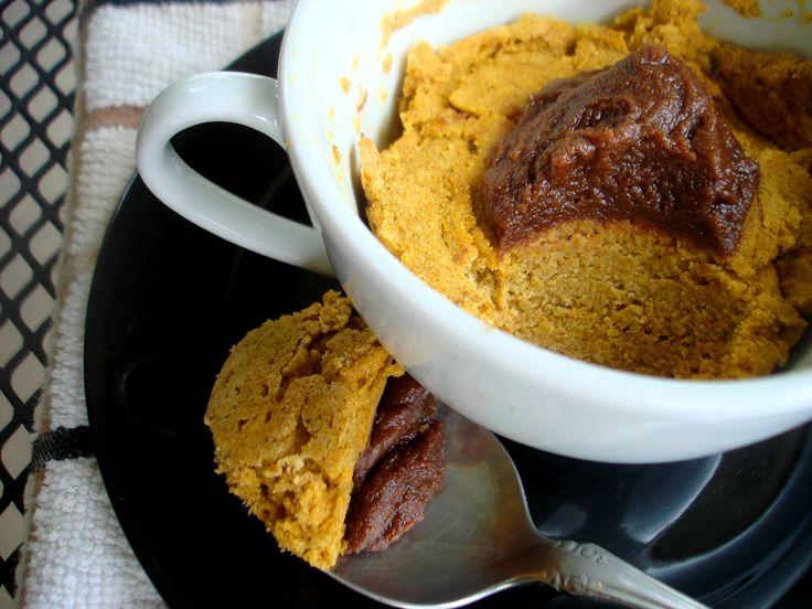 Pumpkin Cake in a Mug with Chocolate Whip