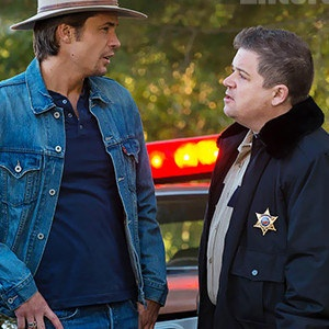 Justified Season 4 Photo Reveals Patton Oswalt as Constable Bob Sweeney - The comedian will play a former high school classmate of Timothy Olyphant's Raylan Givens in the Season 4 premiere airing in this January.