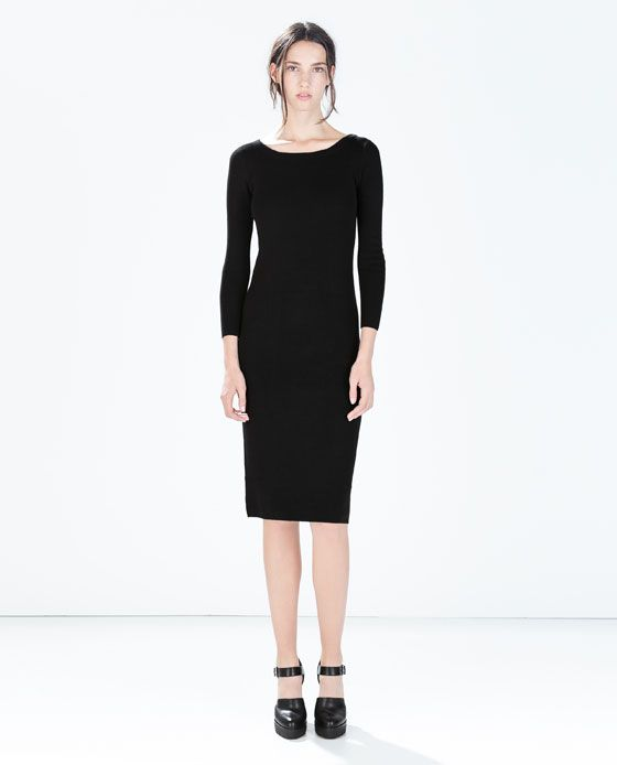 Long knit black dress