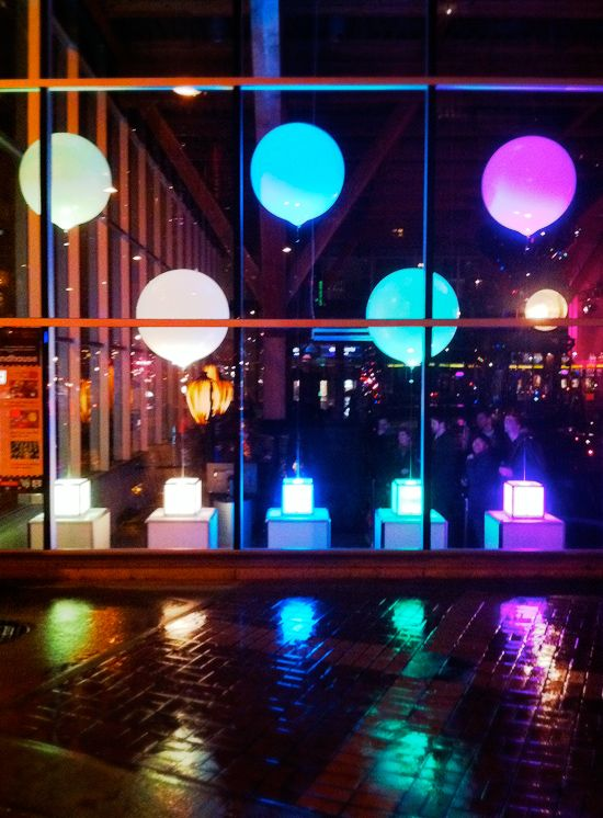 lighted balloons . @Eliana Baucicault  I love BIG and colorful. Kids' department?