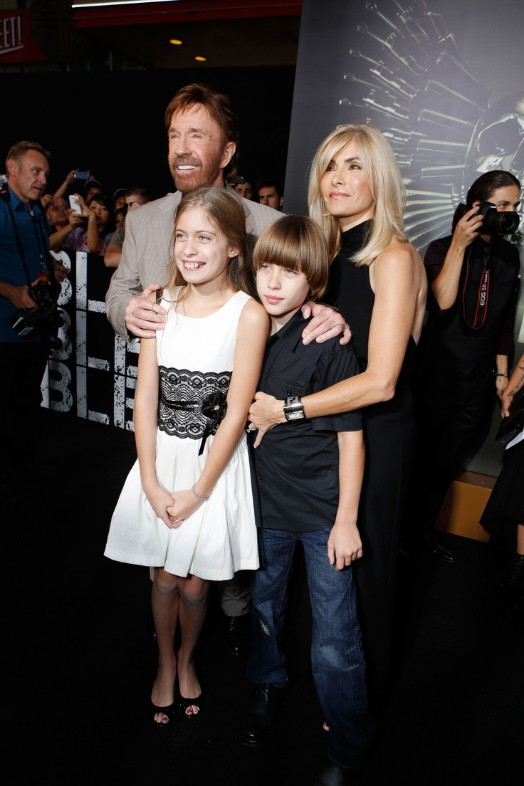 Chuck Norris and family make their way down the black carpet at the #Expendables2 premiere.