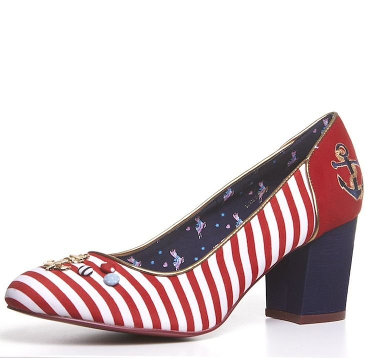 BABYCHAM Rochelle - Womens Red White Striped Nautical Round Toe Mid High Block Heel court shoes Ladies size 7: Amazon.co.uk: Shoes & Bags