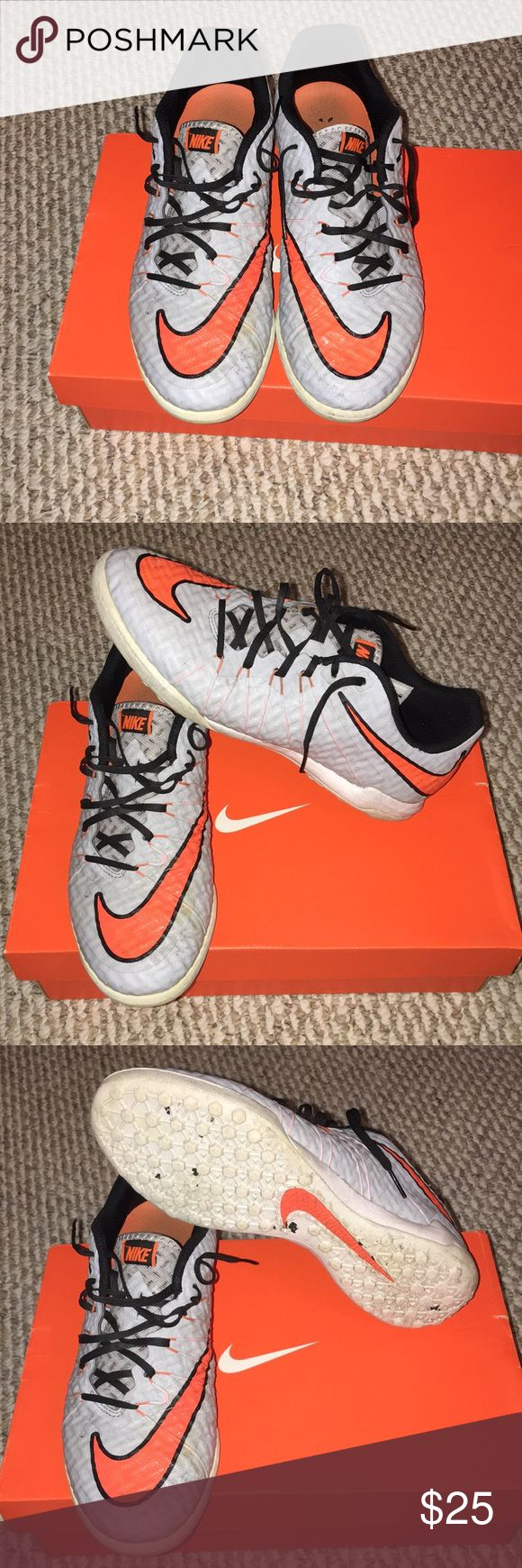 Nike Hypervenom Soccer Turf Shoes Nike Hypervenom Soccer Turf Shoes Gray and orange Used but still in good playing condition Nike Shoes Athletic Shoes