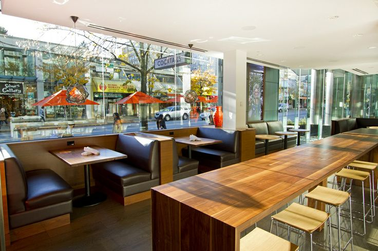 Our south facing restaurant looks onto Robson Street, one of Vancouver's most vibrant people watching hubs