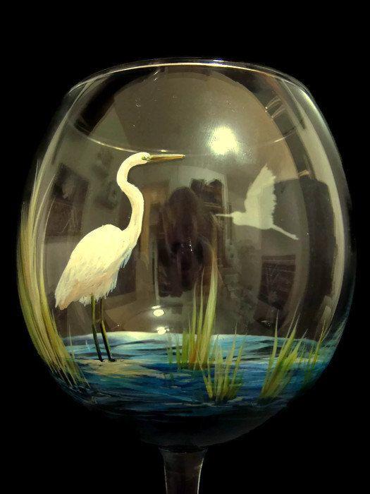 Hand Painted Bird Wine Glass Coastal Kitchen By
