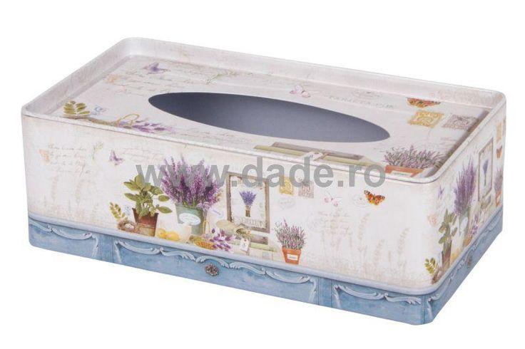 Cutie metalica decorativa pentru servetele cu lavanda-big
