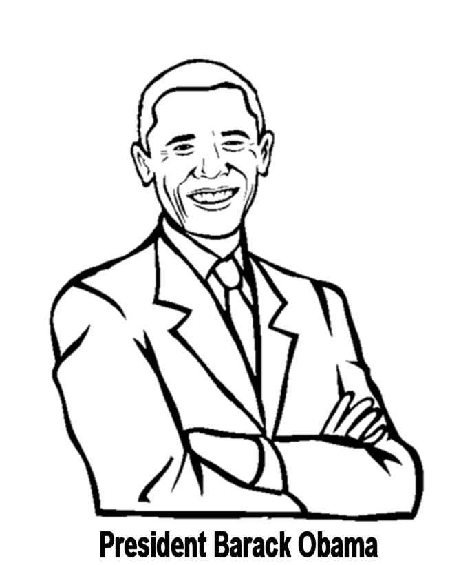 Free printable President Barack Obama facts and coloring picture
