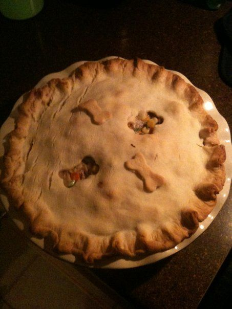 Chicken Pot pie - very tasty, and don't be thrown by the dog bone cut outs...it was the only cookie cutter I could find that day.