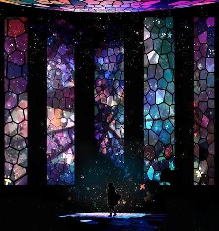 Девушка идет на фоне больших сетчатых окон, арт от Harada Miyuki