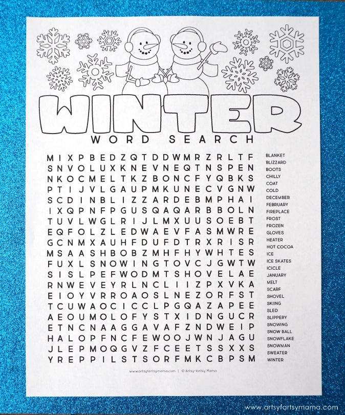 Free Printable Winter Word Search Coloring Page Christmas Winter