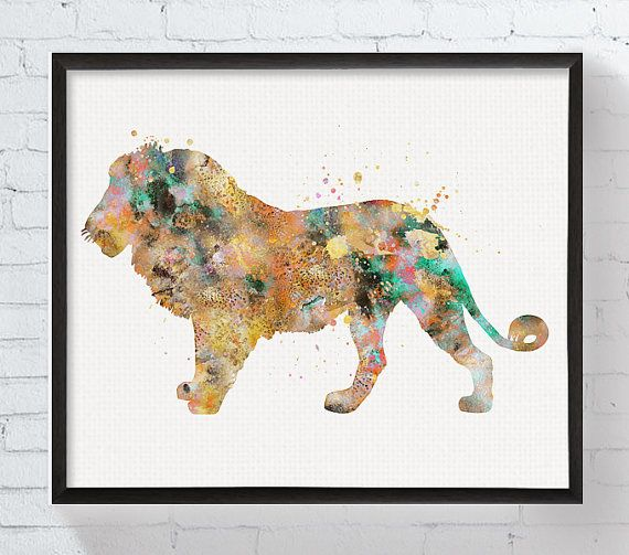 Lion Art Lion Print Watercolor Lion Lion Poster por MiaoMiaoDesign